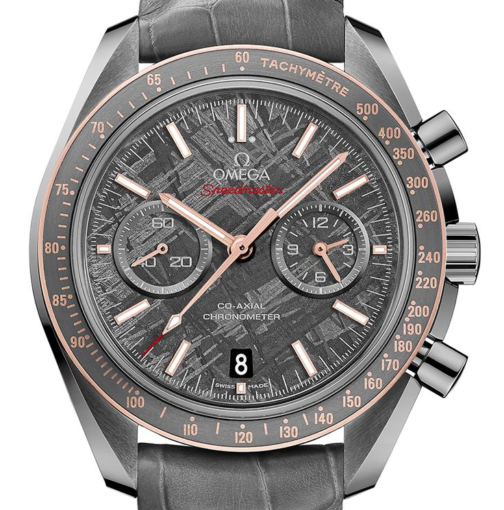 """Omega Speedmaster Grey Side Of The Moon Meteorite Watch - on aBlogtoWatch.com """"For Baselworld 2016, Omega has made a big push to incorporate METAS Master Chronometer movements into their watches, but not all pieces are getting that specific upgrade. For one of their latest releases, they have come out with a new version of the Speedmaster Grey Side of the Moon made with a historically apt material. The new Omega Speedmaster Grey Side of the Moon Meteorite watch seems a bit obvious..."""""""