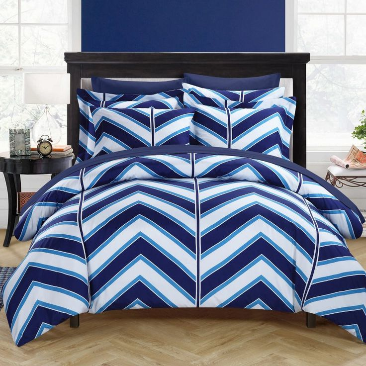 Chic Home, Dallas Chevron Printed Reversible Duvet Cover Set by  Yellow - DS1508-BIB-HE