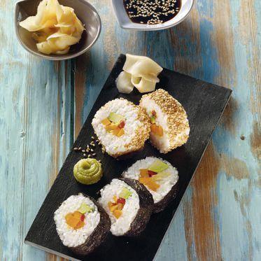 Sushi-Variation mit Ingwer, Kürbis und Avocado