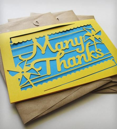 Handmade Many Thanks Papercut Cards – Pack of 3 by Epic Layers on Scoutmob Shoppe