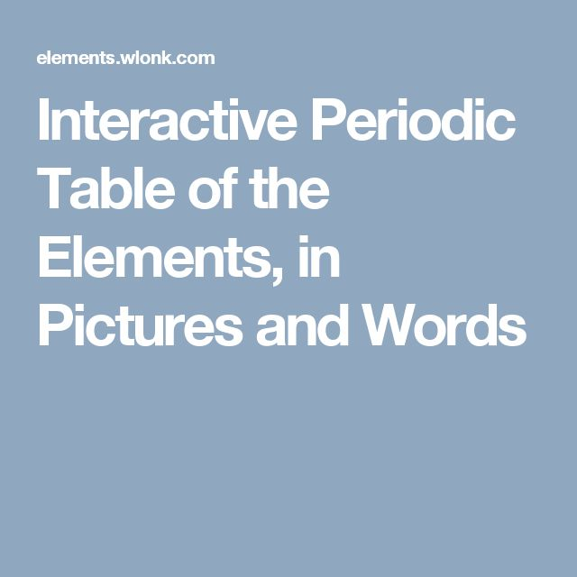 Interactive Periodic Table of the Elements, in Pictures and Words