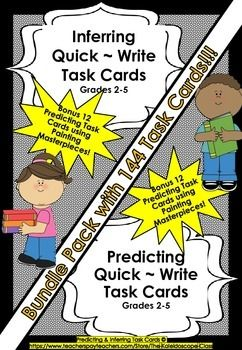 BUNDLE PACK Inferring & Predicting ~ 144 QUICK WRITE TASK CARDS Using photos/paintings and original text. Fantastic for Literacy Stations - Quick Write Sessions - Early Finishers - Developing oral language in children. Also great for the sub/temp teacher. Packs can be bought separately!