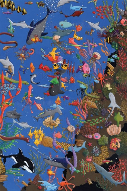 17 best images about fish mural on pinterest dolphins for Aquarium mural wallpaper