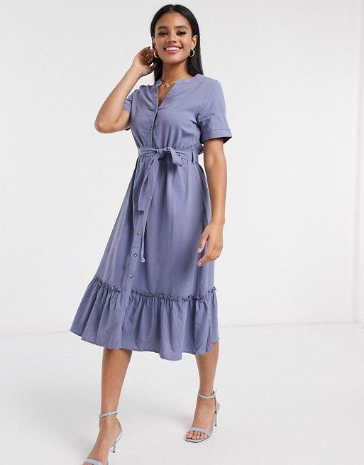 qed london tie waist midi dress in cornflower blue asos