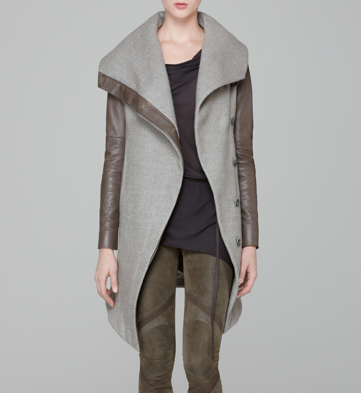 Helmut Lang wool felted coat with leather trim