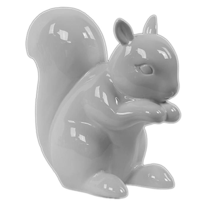 "6.75"" Ceramic Squirrel in White 