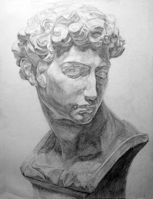 石膏像の鉛筆デッサン描き方過程11