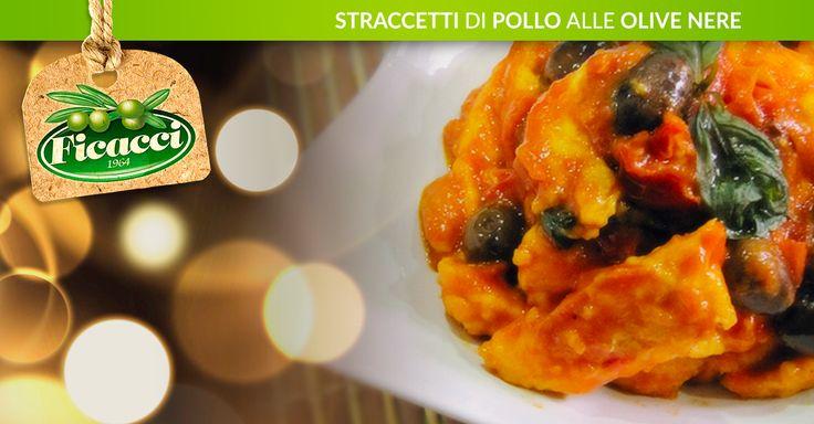 Straccetti di pollo alle olive nere -400 g di petto di pollo -400 g di pomodorini -2 cucchiai di olio extra vergine di oliva -1 pezzetto di peperoncino -1 spicchio di aglio farina q.b -1/3 di bicchiere di vino bianco sale, pepe q.b -qualche foglia di basilico -una manciata di olive nere di Leccino o di Gaeta ...