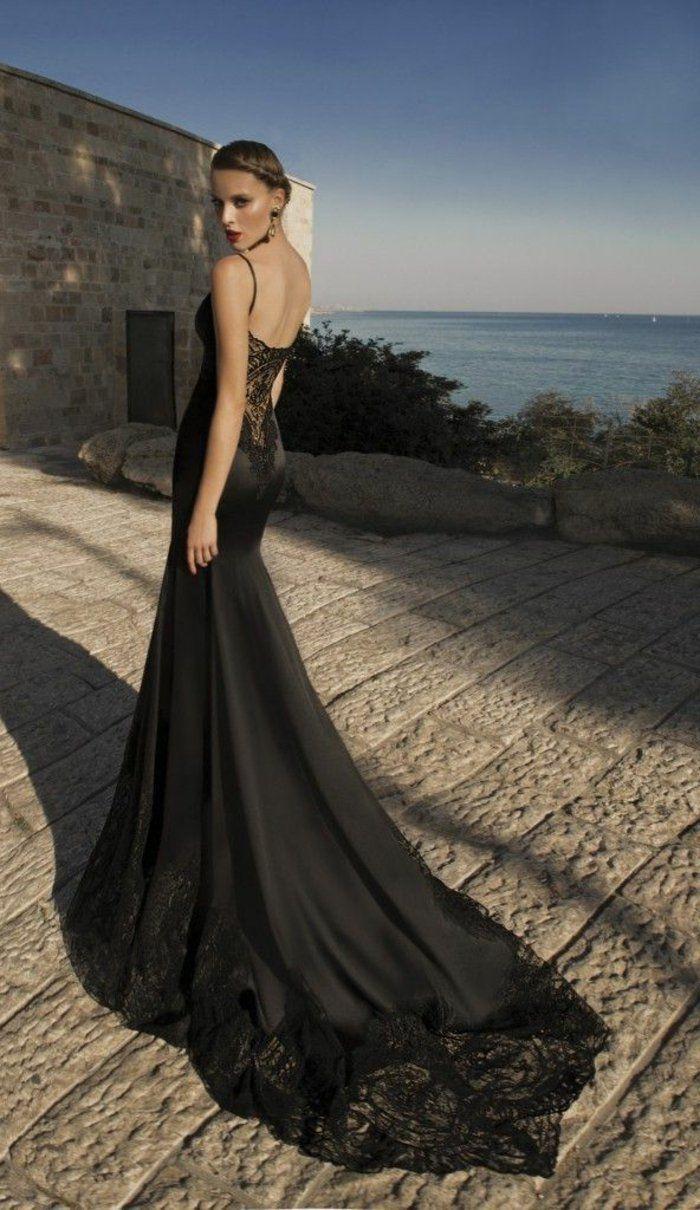 robe de soirée dentelle de couleur noir pour les filles modernes
