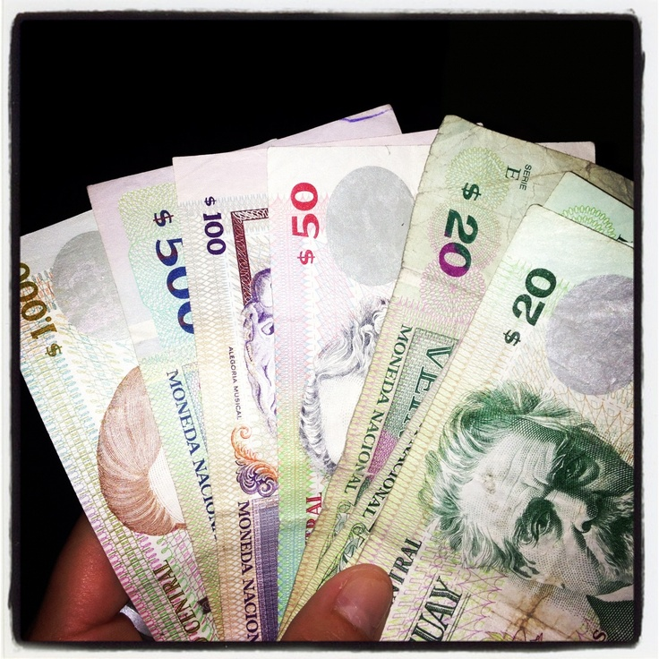Uruguay's currency is pesos. Every one dollar in the united states it 22 dollars in uruguay.