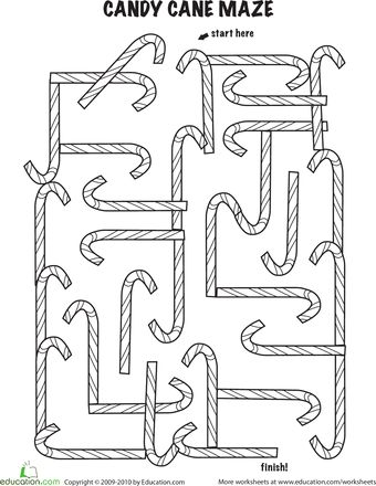 Worksheets: Follow the Candy Cane Maze