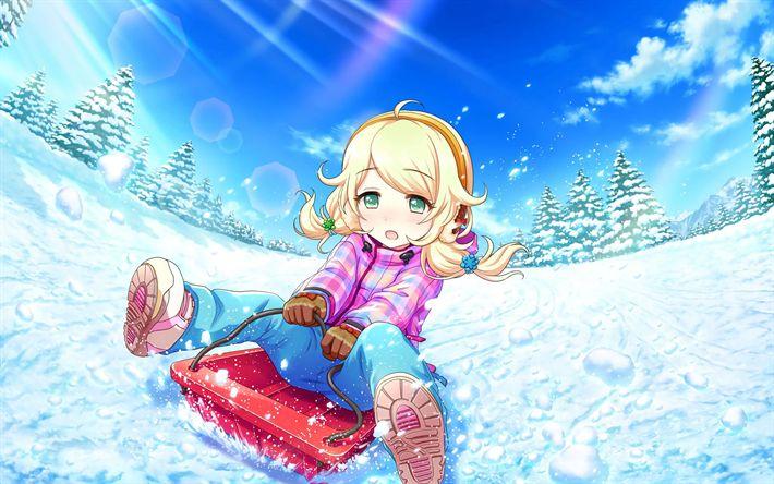 Download wallpapers Kozue Yusa, winter, anime characters, The Idolmaster Cinderella Girls, manga, Idolmaster