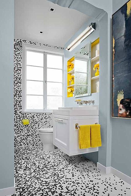bathroom ideas grey and yellow
