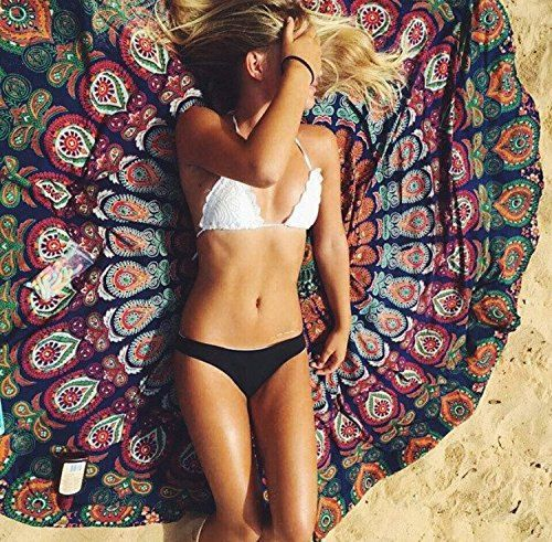 NANDNANDINI -1 X Indian Mandala Round Roundie Beach Throw Tapestry Hippy Boho Gypsy Cotton Tablecloth Beach Towel , Round Yoga Mat by NANDNANDINITEXTILE on Etsy