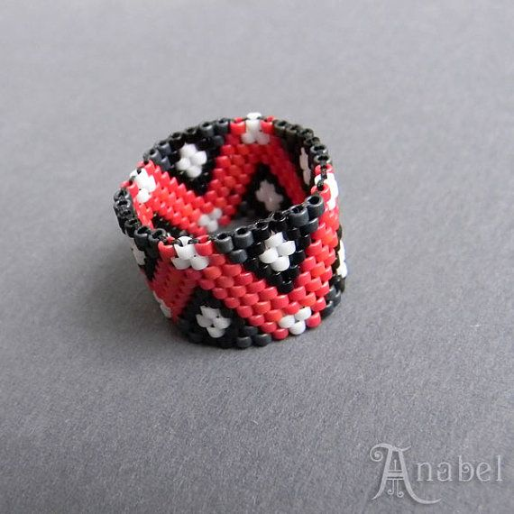 Colorful beadwoven peyote ring  beaded jewelry by Anabel27shop,#beadwork