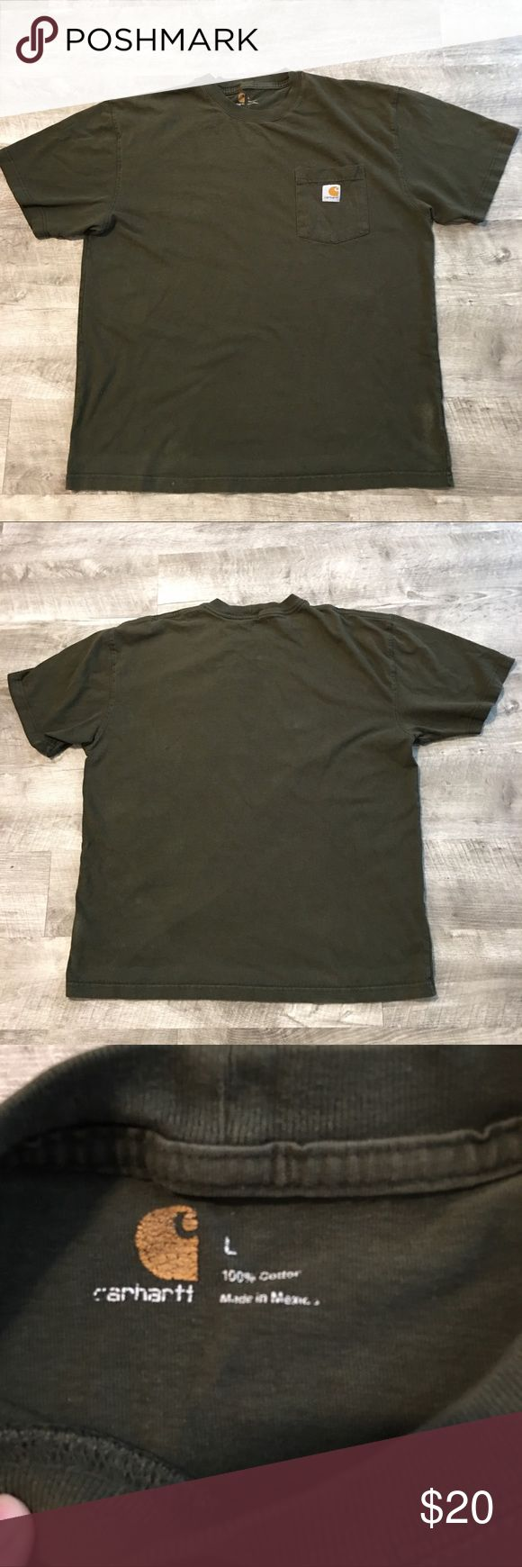 Carhartt men's tee size large w/flaws This has wear, fading and discoloration and two small holes on front as shown. Size large men's tee Carhartt Shirts Tees - Short Sleeve