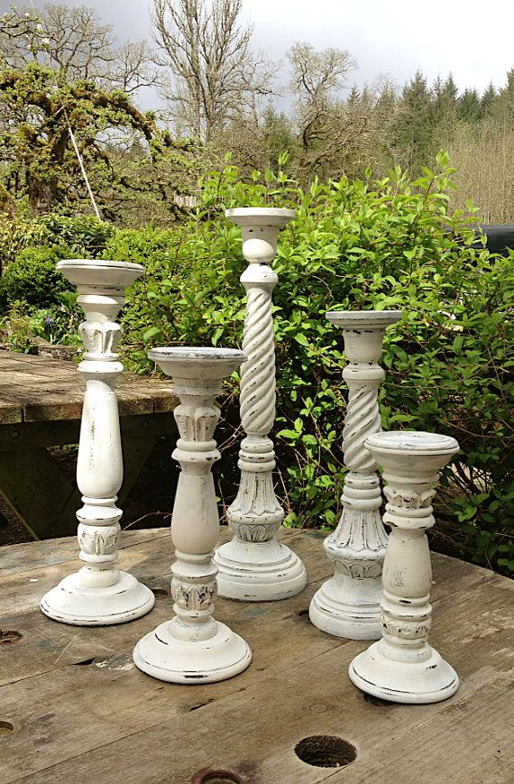 SHABBY CHIC White Candle Sticks, Set 5 Distressed Chalk Paint Wedding Home Mantle Decor Large Candle Holders, on Etsy, $140.00