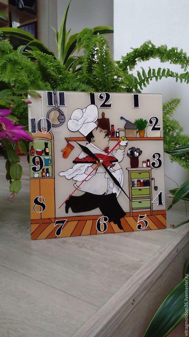 Купить часы настенные кухонные Веселый повар - комбинированный, кухонный интерьер, кухня, часы настенные