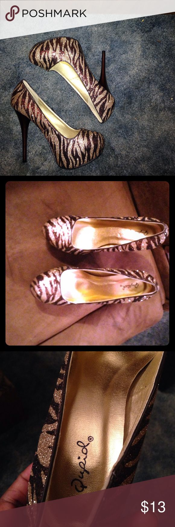 Zebra high heels! Excellent condition⭐️⭐️⭐️ Zebra stilettos. Too small for me Qupid Shoes Heels