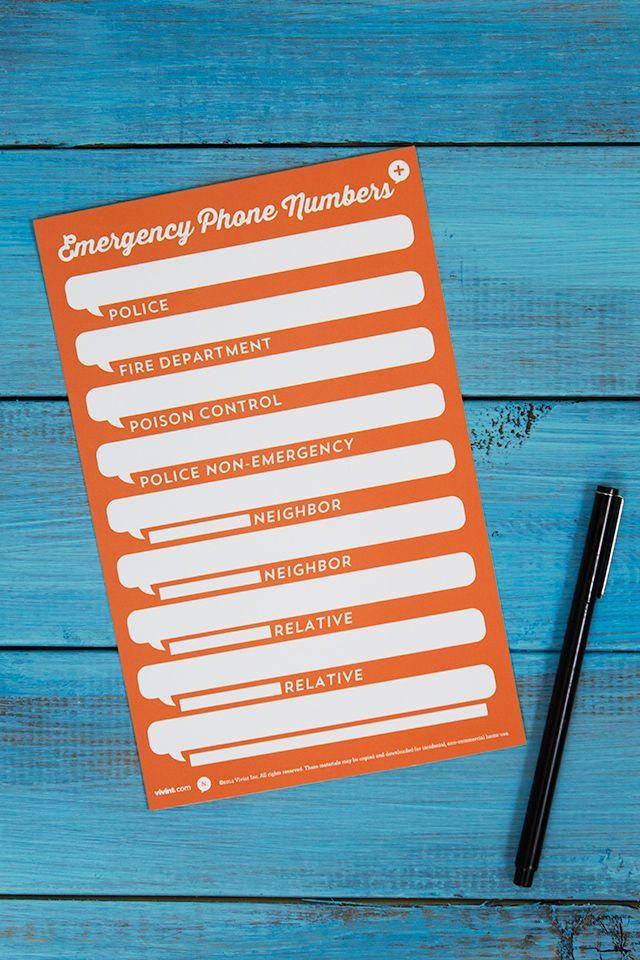 printable emergency phone number card