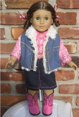Cowgirl Outfit For 18 Embroidery In The Hoop Doll