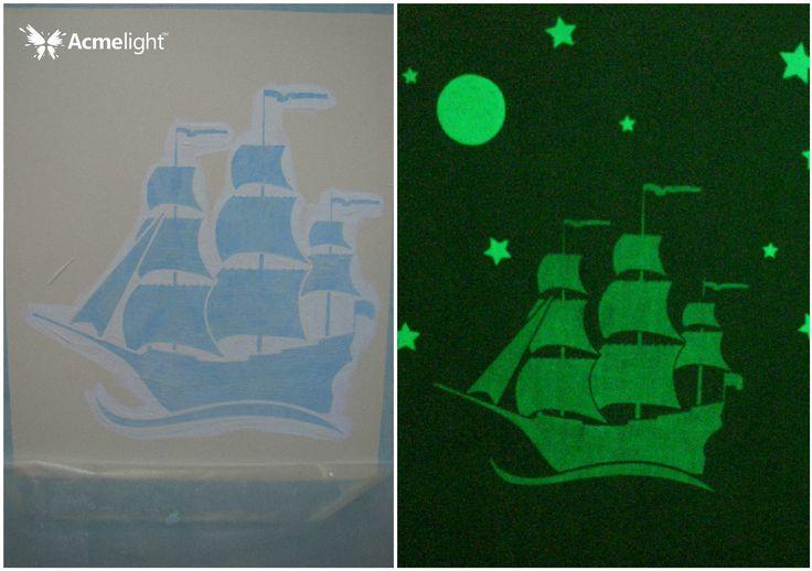 Светящийся в темноте корабль в детскую. Светящаяся краска для стен Acmelight Interior.