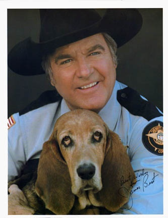 """James Best played Sheriff Roscoe P. Coltrane who was the stumbling, stammering law officer who chased Bo and Luke Duke (John Schneider and Tom Wopat) all over the place and most often referred to his deputies as """"dipsticks"""" who where Enos (Sonny Shroyer) and Cletus (Rick Hurst).  He was often accompanied by his bloodhound """"Flash"""" and took orders from the crooked Boss Hogg (Sorrell Booke).  It was Best's idea to add Flash to the cast of The Dukes of Hazzard... Read more>>"""