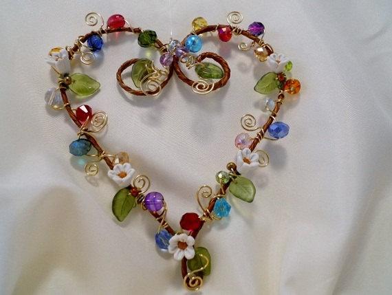 Beaded Heart Suncatcher with Minature Clay Flowers