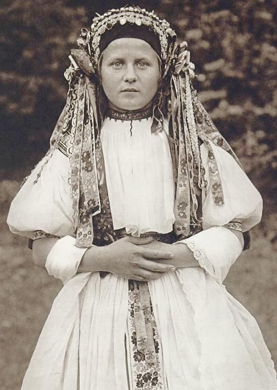 Image detail for -Traditional Slovak Bride in full wedding dress in the mid 20th Century ...
