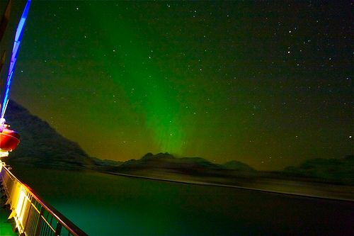 Northern Lights by Bruce Tuten. Creative Commons Attribution Licence from October to March