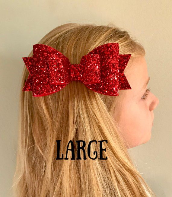 christmas hair bow ruby red glitter