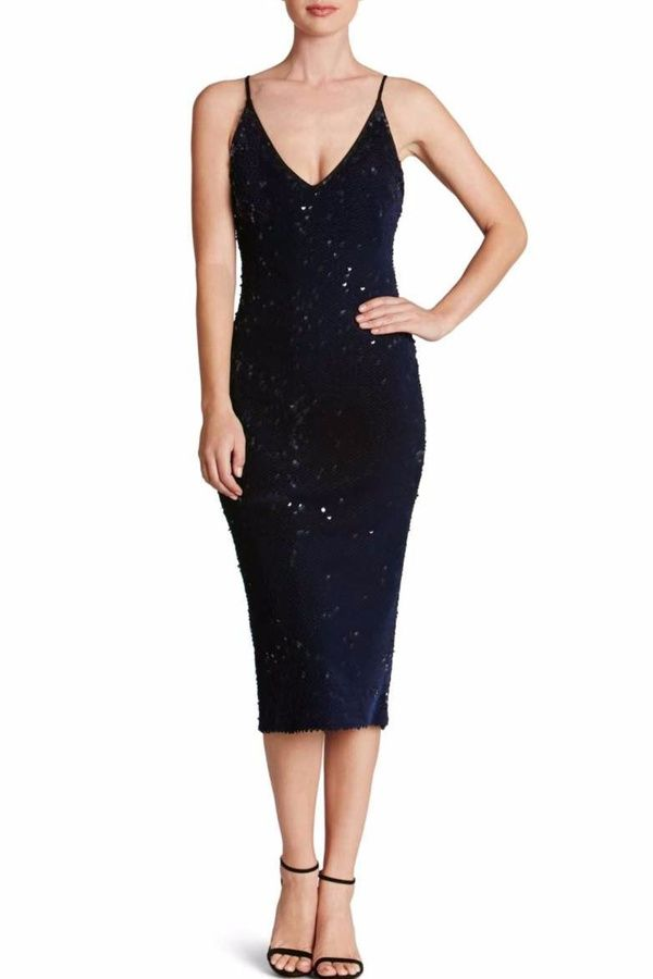 Dress the Population Midnight Sequin Midi Dress