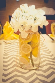 These were our wedding table center pieces. Simple and classic. Yellow and grey wedding.....these are perfect!!!! Even on mason jars!!