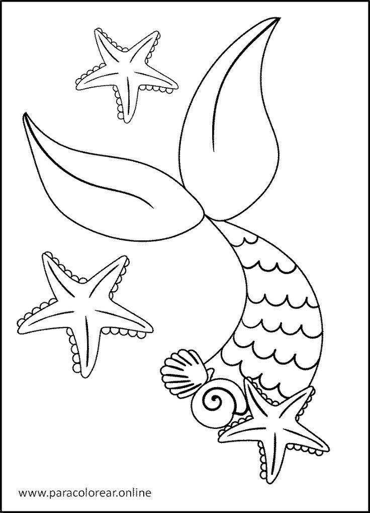 Sirenas-para-Colorear-4 en 2020   Sirena para colorear ...