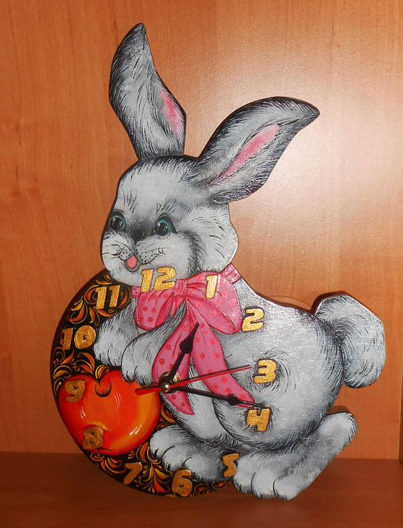 The wall Clock the Hare with Apple in handmade by Artworkshop1, $39.00