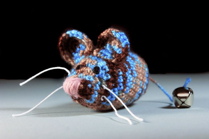 Catnip Toy Mouse, Mouse With Bell, Multicolored, Crocheted, Pet Toy, Natural Cat Nip, Pet Accent