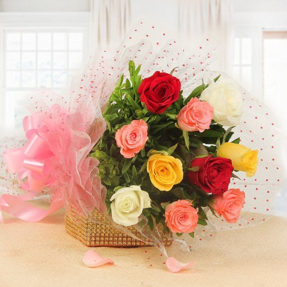 10 Mix Rose Bunch Online Flower Delivery Valentines Flowers Flowers For Valentines Day