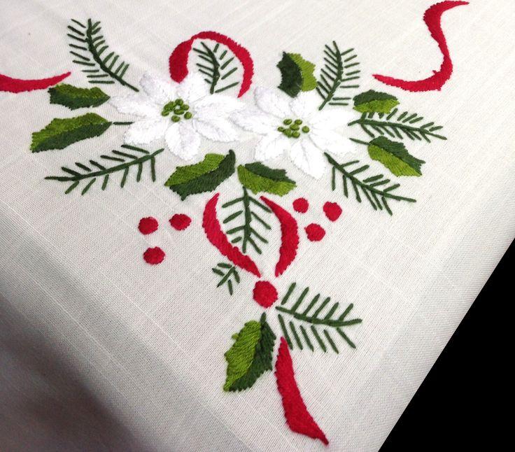 Mantel de navidad bordado a mano con un dise o de flores - Motivos navidenos para pintar en tela ...