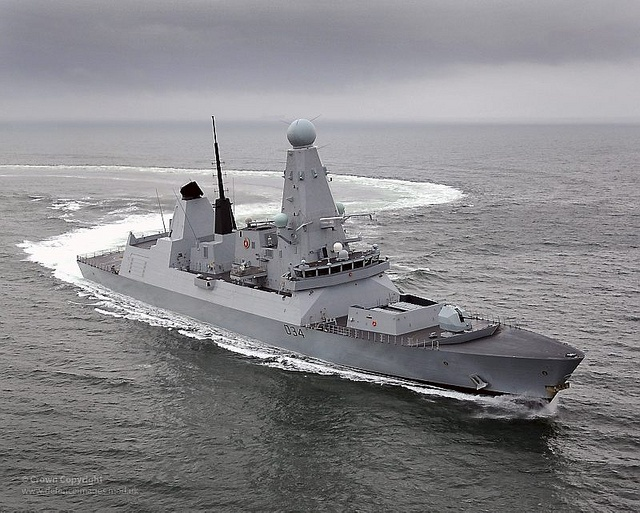 Royal Navy Type 45 Destroyer HMS Diamond.  Royal Navy Type 45 destroyer HMS Diamond.  HMS Diamond, the Royal Navy's third Daring class destroyer built by BAE Systems in Govan, made her first return visit to the River Clyde Wednesday 9th February 2011.