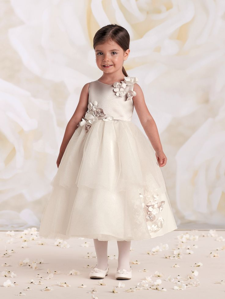 Adorable flower girl dress  Sleeveless satin and tulle tea-length dress with…
