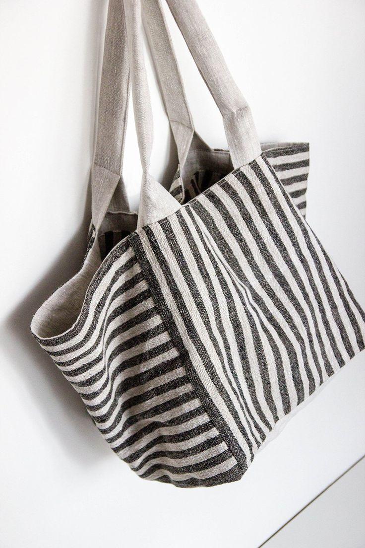 Two-sided linen handbag – Black and white tote bag – Designer tote bag – Black tote – Groceries bag – Summer bag