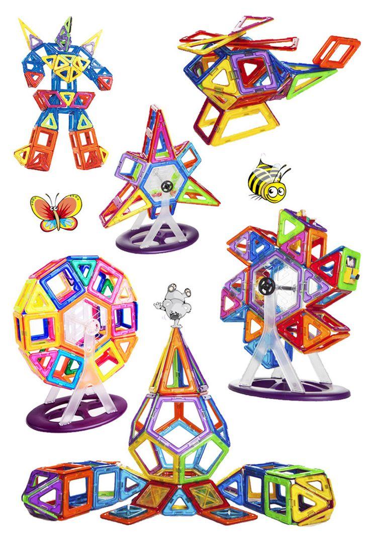 Aocoren 66Pcs Magnetic Bricks Toys Similar Magformers Brand 3D Magnetic Building Blocks Kids Gift Toys
