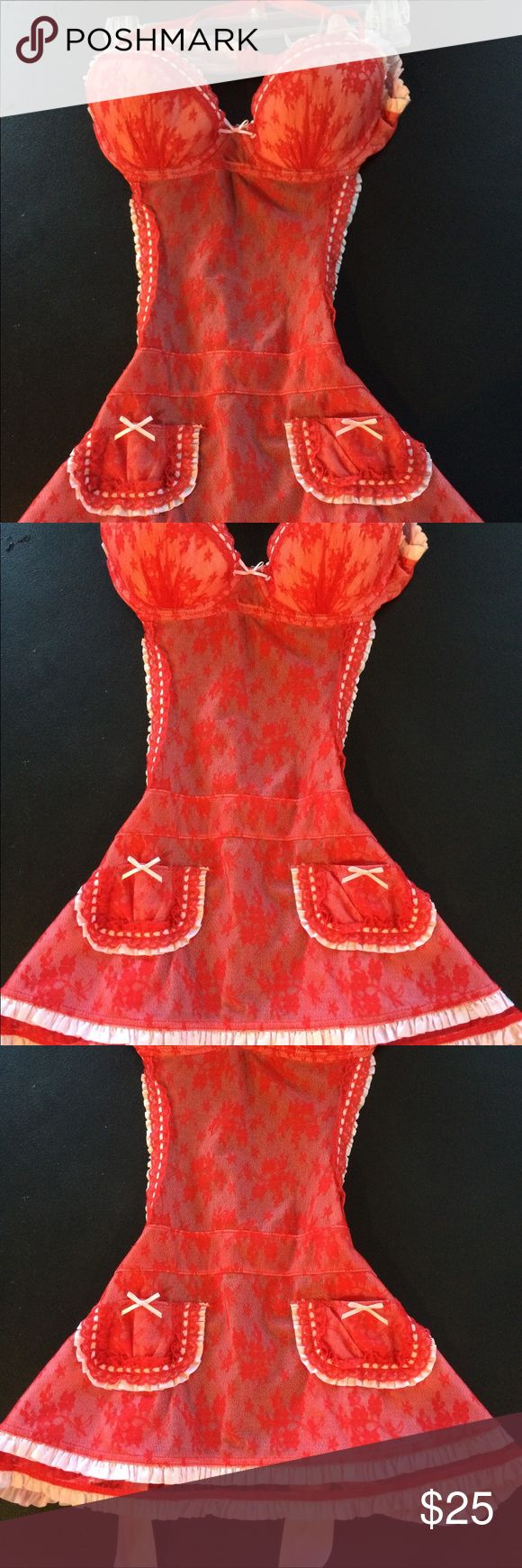 Victoria's Secret Red lace french maid lingerie Victoria's Secret 36B red lace french maids lingerie with ribbon tie in back. The chest is too big for me. Great condition Victoria's Secret Intimates & Sleepwear