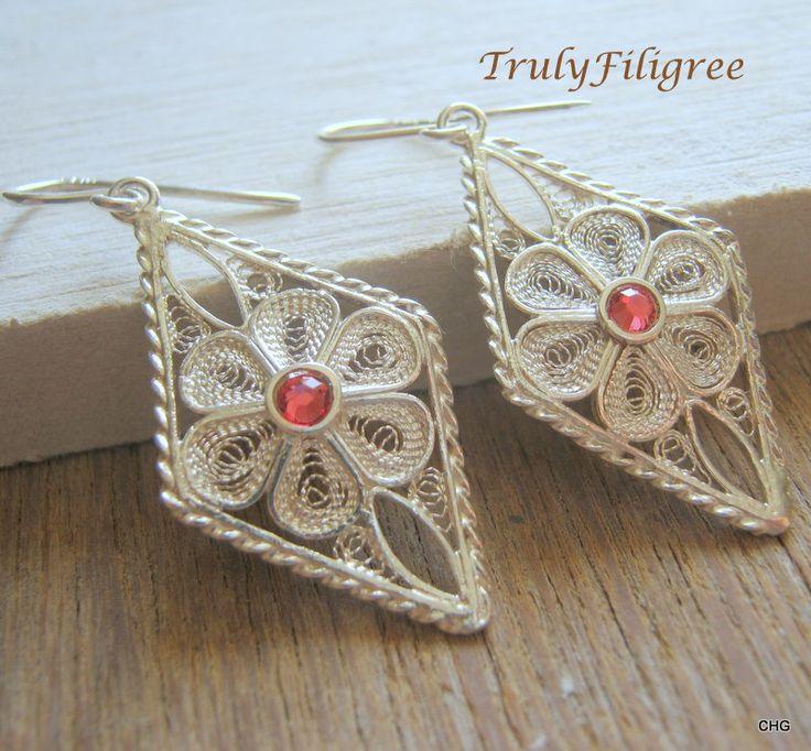 Handmade Earrings,Filigree Earrings, Handmade Jewelry,Silver Earrings,Dangle Earrings