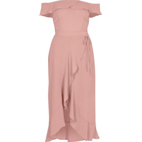 River Island Light pink bardot frill wrap dress (3,575 DOP) ❤ liked on Polyvore featuring dresses, bardot / bandeau dresses, pink, women, frilly dresses, crepe dress, pink wrap dress, midi dress and mid calf dresses