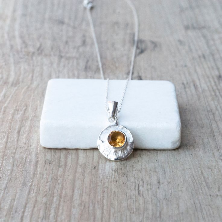 Citrine Necklace, Dainty Sterling Silver Yellow Gemstone Pendant and Chain…