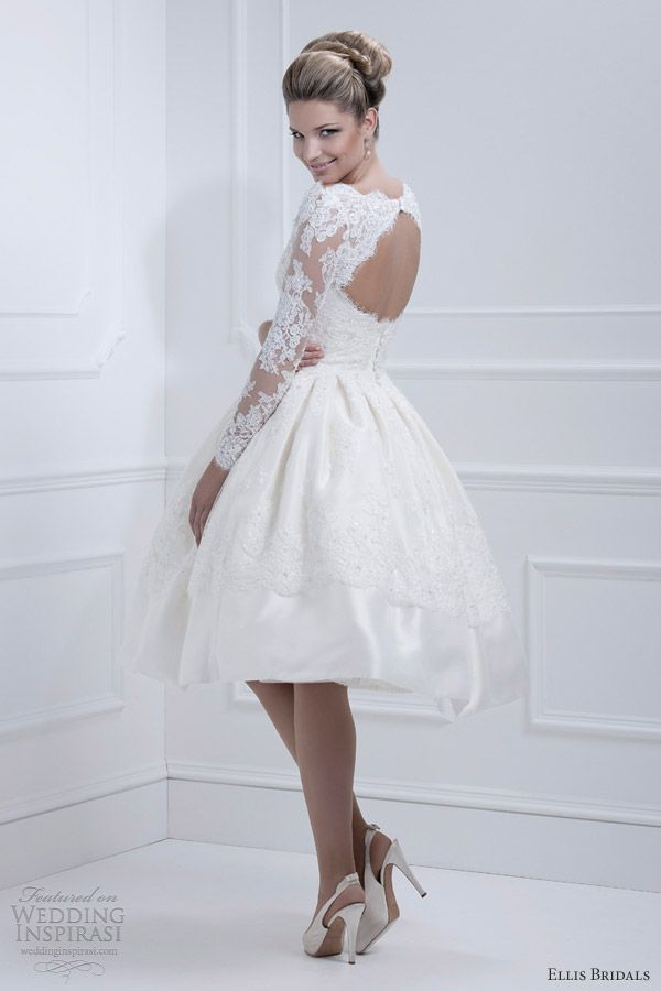 Long sleeves, cut-out back #Short #Wedding #Dress ♡ For how to organise an entire wedding ... on a budget https://itunes.apple.com/us/app/the-gold-wedding-planner/id498112599?ls=1=8 ♥ THE GOLD WEDDING PLANNER iPhone App ♥  http://pinterest.com/groomsandbrides/boards/ for an abundance of wedding ideas ♡