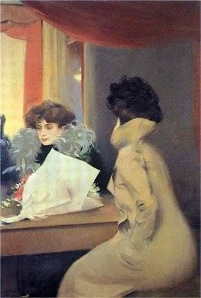 L'avant-loge by Ramon Casas i Carbó (Catalan/Spanish 1866-1932)