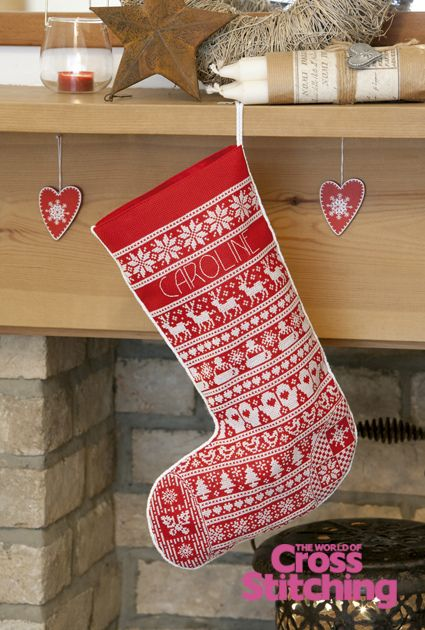 Scandinavian-style Christmas stocking, cross stitch design by The World of Cross Stitching, via Flickr
