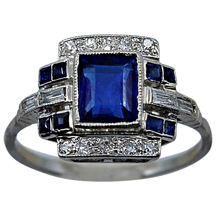 Art Deco Elegant 1.10 Carat Natural Sapphire Diamond Engagement Ring | From a unique collection of vintage engagement rings at https://www.1stdibs.com/jewelry/rings/engagement-rings/